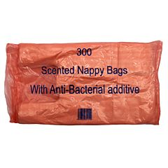 Pink pack of nappy bags, with text '300 Scented Nappy Bags with Anti-Bacterial additive'.