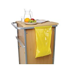 A yellow bag attached to a cabinet.
