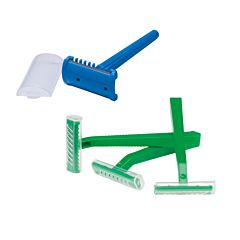 Universal prep razors in blue and green