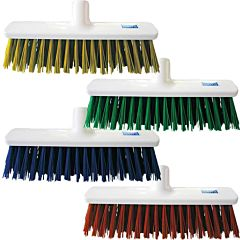 4 white brooms in different colours including yellow, green, blue and red.