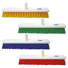 4 white brooms with different colour bristles including yellow, green, blue and red.