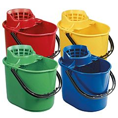 4 mop buckets in red, yellow, green, and blue.