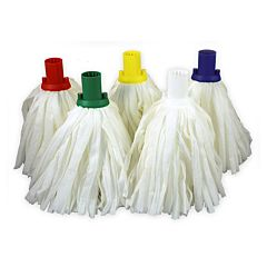 Super white mopheads in red, green, yellow, white, and blue.