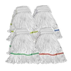 4 white colour-coded mop heads.