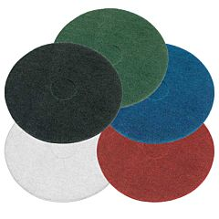 5 buffing pads in black, green, blue, white & red.