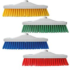 4 white brooms in different colours, including Yellow, Green, Blue and Red.