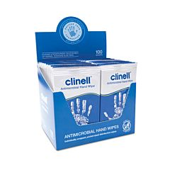Box of 100 individually wrapped Clinell Antimicrobial hand wipes