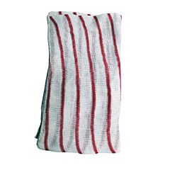 White cloth with red stripes.