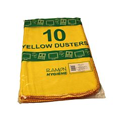 Pack of 10 yellow dusters.