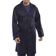 A man wearing a navy blue warehouse coat