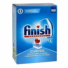 Blue box of Finish Powerball Classic dishwasher tablets.