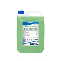 Clear 5-litre container with blue lid and green liquid. Product label in blue and white which reads 'Cleenol Green pine disinfectant'.