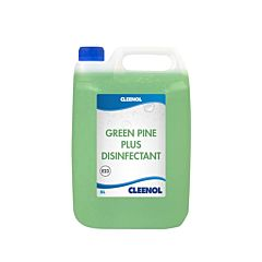 Clear 5-litre container with blue lid, green liquid and product label. The product label is blue and white and reads 'Cleenol Green Pine Plus Disinfectant'.