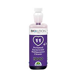evo11 perfumed bactericidal multipurpose cleaner in clear plastic bottle with purple label