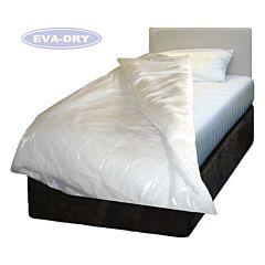 Eva-dry white plastic waterproof duvet protector.