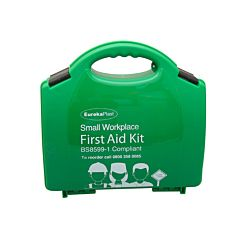 Green boxed first aid kit with black latches. Text reads 'EurekaPlast, Small Workplace, First Aid Kit, BS8599-1 Compliant'