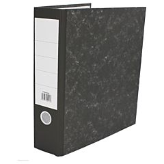 A4 charcoal lever arch file with a lined label.