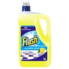 A clear 5-litre container with a blue lid, containing yellow liquid and a product label. The product label reads 'P&G Professional Flash All-Purpose Cleaner Lemon'.
