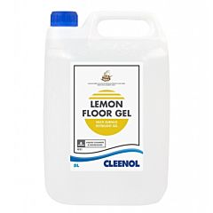 A White 5 litre container with a blue lid and product label. The product label is white with a black and yellow design, with text that reads 'Lemon Floor Gel Multi Surface Detergent Gel.'