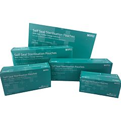 5 boxes in differing sizes of self-seal sterilisation pouches. The design is blue with lighter blue medical crosses.
