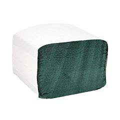 Green hand towels in white paper wrapping.