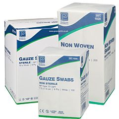 Premier Blue Cotton Gauze Swabs 10cm x 10cm 12ply (10,000) 7009