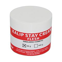 White container with a red stripe product label. The label reads 'Kalip Stay Cream Flesh, Embalming Cosmetic'.