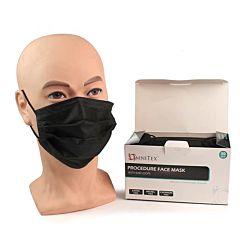 Omnitex Black Face Masks Type IIR with Ear Loops (50) MK-OX-50DU.