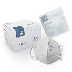 White box, packaging and ffp2 mask with optipro logos