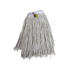 Off white PY mop head with coloured tags stitched in which are red, blue, green and yellow.