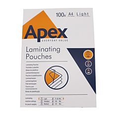 Outer box of Apex Everyday Value laminating pouches.