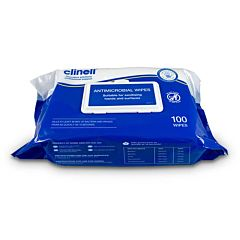 100 flow wrap of clinell antibacterial hand & surface wipes