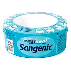 Circular sangenic cassette with blue packaging.