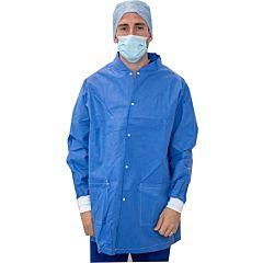 Blue medical scrub warming jacket being worn.