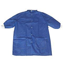 Elbow-length blue scrubs warming jacket.