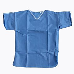 Blue patient scrub suit top with velcro fastenings.