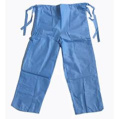 Blue patient scrubs with waist ties and velcro fastenings.