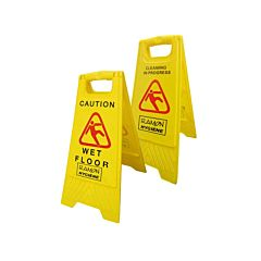 Yellow wet floor sign with a red warning label. The text reads 'Caution wet floor'.