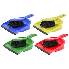 4 colour coded dustpan and brushs with black bristles.