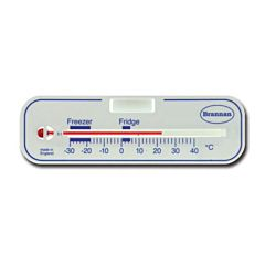 White thermometer with red spirit gauge and temperature markings.