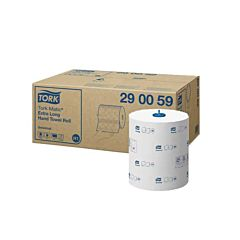 Box of Tork matic hand towels with individual roll in front.
