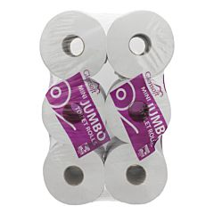 Glensoft mini jumbo toilet rolls wrapped in clear plastic with purple logo and text.