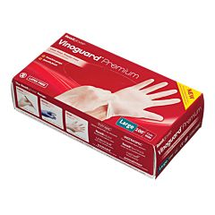 A red box of vinyl gloves with an image of hands donning gloves.