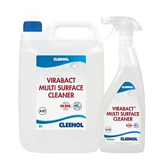 Clear 750ml & 5Ltr bottle with clear liquid and white and blue product label. Label reads 'CLEENOL VIRABACT MULTI SURFACE CLEANER A20 750ML CLEENOL'.